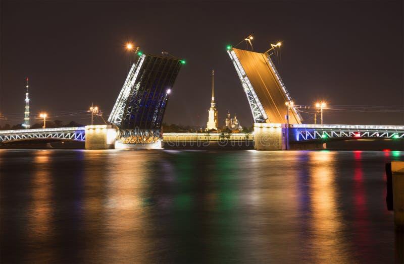 Rozwiedziony pałac most i katedra na Neva nocą Peter i Paul obraz royalty free