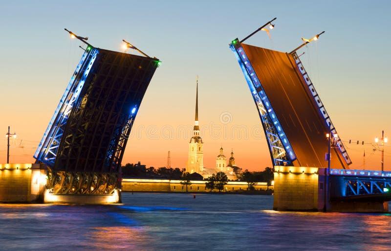 Rozwiedziony pałac most na tle Peter i Paul forteca St Petersburg zdjęcie royalty free