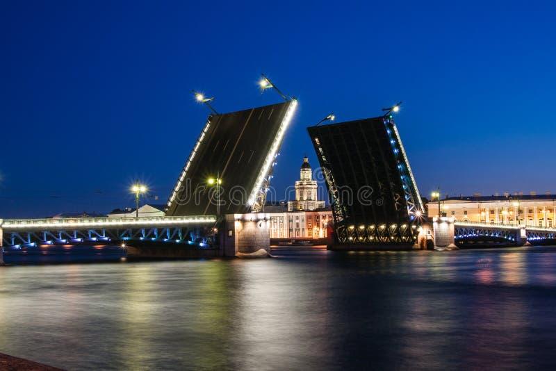 Rozwiedziony pałac most podczas Białych nocy wiev na Kuntskamera, St Petersburg, Rosja Lipiec 3, 2010 zdjęcie stock