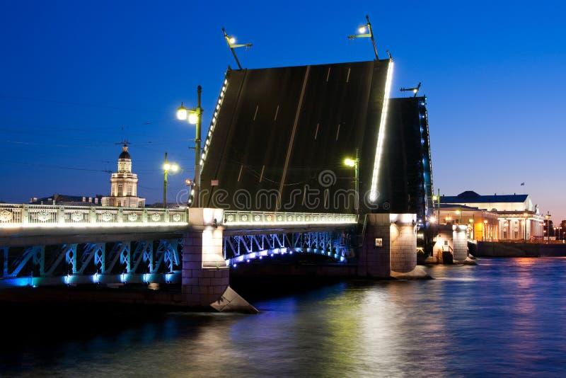 Rozwiedziony pałac most podczas Białych nocy wiev na Kuntskamera, St Petersburg, Rosja Lipiec 3, 2010 obraz stock