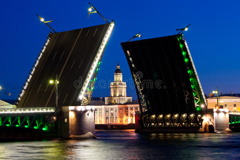Rozwiedziony pałac most podczas Białych nocy wiev na Kuntskamera, St Petersburg, Rosja Lipiec 3, 2010 obrazy royalty free