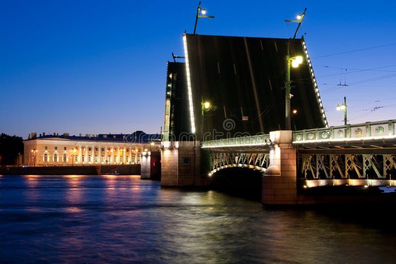 Rozwiedziony pałac most podczas Białych nocy wiev na Kuntskamera, St Petersburg, Rosja Lipiec 3, 2010 fotografia stock