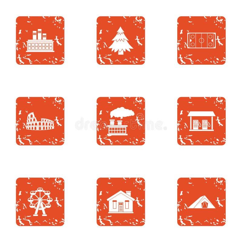 Rozwija domowe ikony ustawiać, grunge styl ilustracja wektor