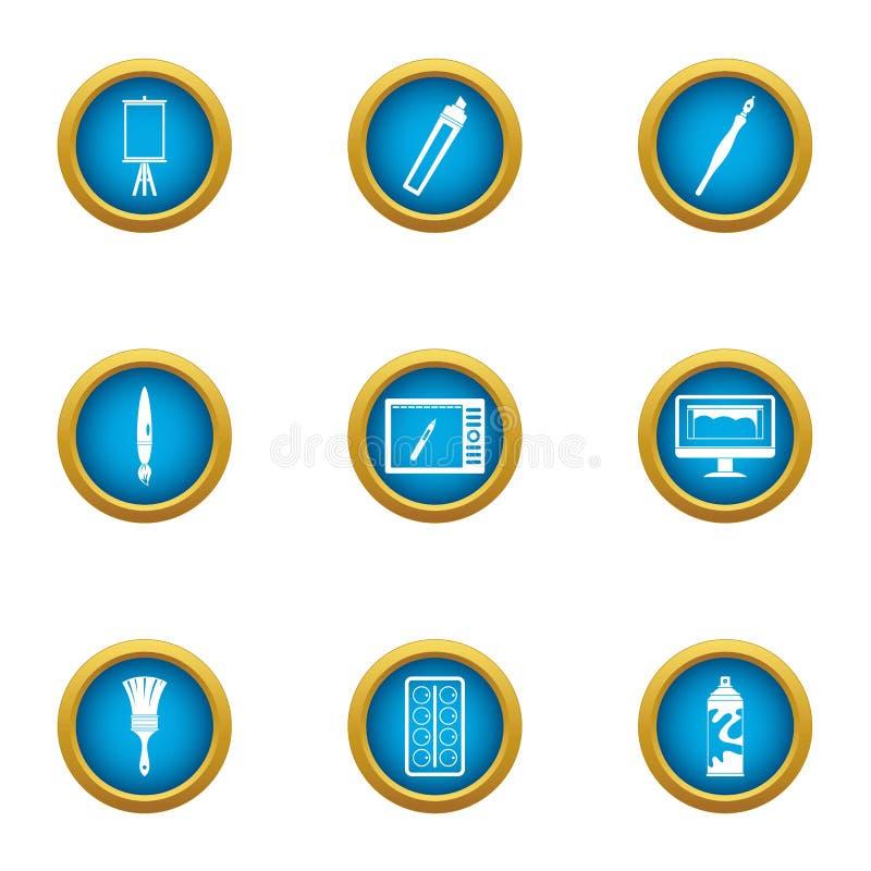 Rozwija obrazka ikony ustawiać, mieszkanie styl royalty ilustracja