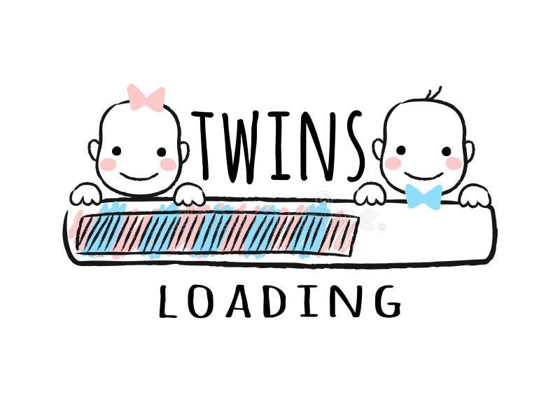 Rozwija się baru z inskrypcją bliźniaków ładować, nowonarodzona chłopiec i dziewczyna uśmiecha się twarze w szkicowym stylu - royalty ilustracja