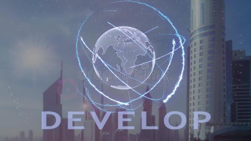 Rozwija tekst z 3d hologramem planety ziemia przeciw t?u nowo?ytna metropolia royalty ilustracja