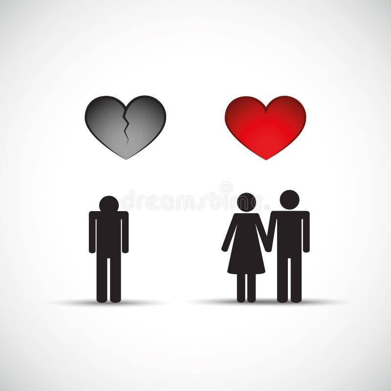 Rozwodowego i nowego związku złamanego serca smutny mężczyzna royalty ilustracja
