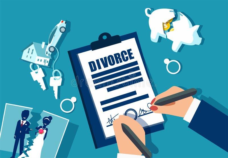 Rozwodowy i majątkowy podziałowy pojęcie royalty ilustracja