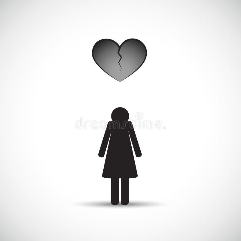 Rozwodowy zawał serca pojęcie z smutną kobietą i złamanym sercem ilustracji