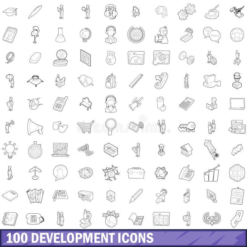 100 rozwojów ikon ustawiających, konturu styl ilustracja wektor
