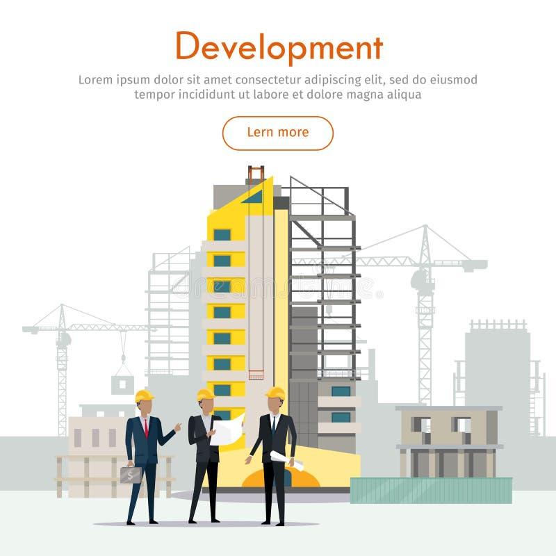 rozwojowy Budynku proces biznesmeni trzy ilustracja wektor