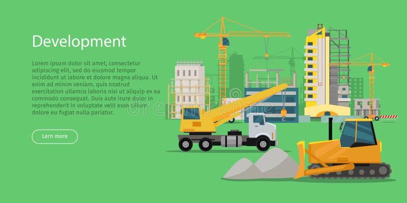 rozwojowy Budynku proces Construcrtion ilustracja wektor