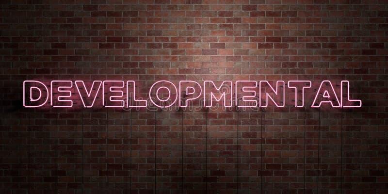 ROZWOJOWY - fluorescencyjny Neonowej tubki znak na brickwork - Frontowy widok - 3D odpłacający się królewskość bezpłatny akcyjny  ilustracji