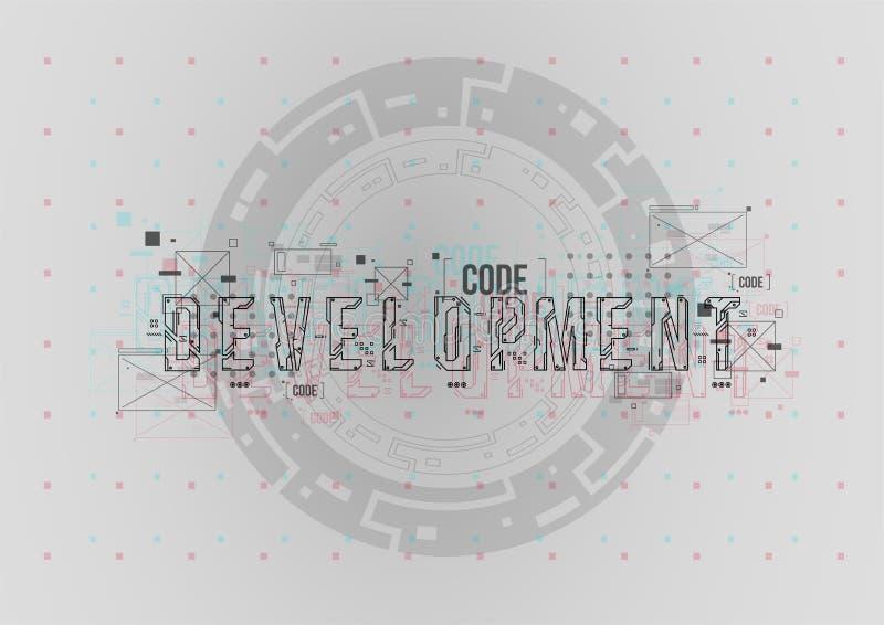 rozwojowy Konceptualny układ z HUD elementami dla druku i sieci Literowanie z futurystycznymi interfejsów użytkownika elementami ilustracja wektor