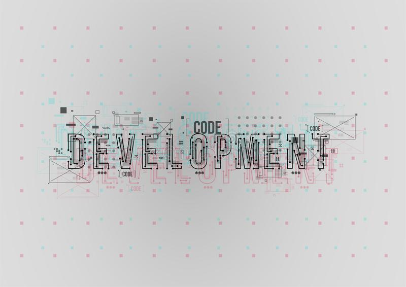 rozwojowy Konceptualny układ z HUD elementami dla druku i sieci Literowanie z futurystycznymi interfejsów użytkownika elementami fotografia stock