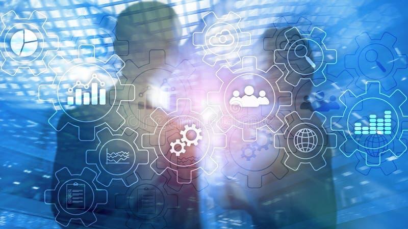 Rozwoju biznesu abstrakcjonistyczny diagram z przekładniami i ikonami Obieg i automatyzaci technologii pojęcie obrazy stock