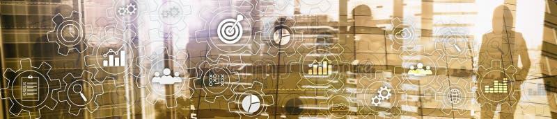 Rozwoju biznesu abstrakcjonistyczny diagram z przekładniami i ikonami Obieg i automatyzaci technologii pojęcie Strona internetowa obraz stock