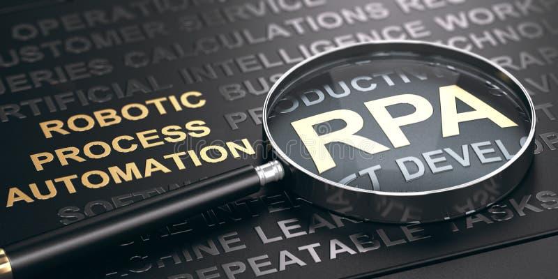 RPA,在黑背景的金黄信件中写道的机器人自动化Accronym  库存例证