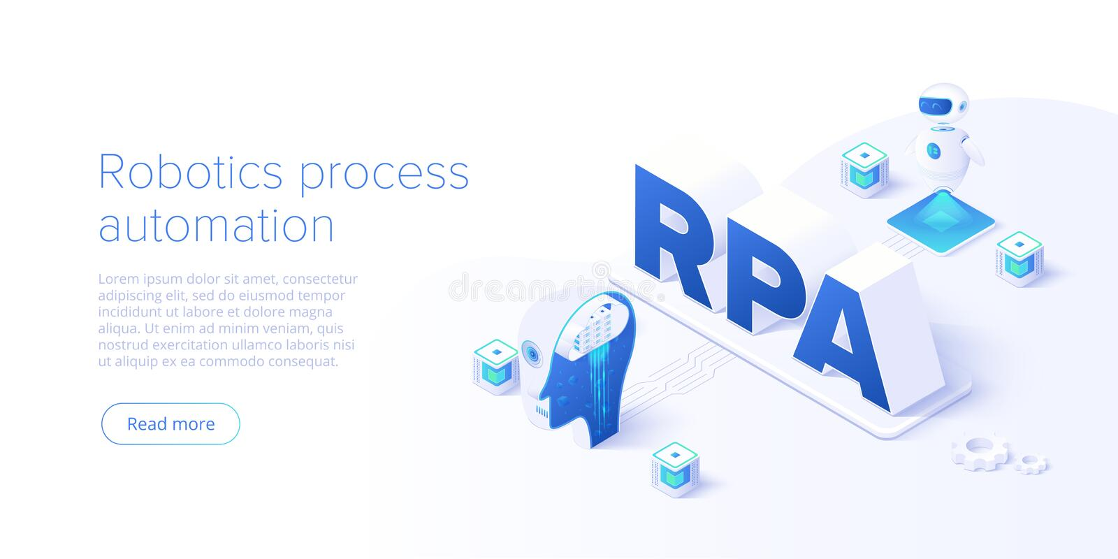 RPA concept in isometric vector illustration. Robotics process automation background with software robots and ai. Artificial stock illustration