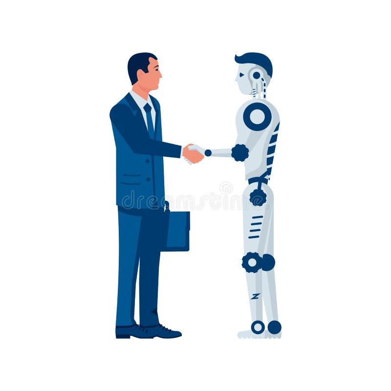 RPA concept. Robotic progress automatisation. Human partnership robot. Businessman shakes hands with a cyborg. Future cooperation. Vector illustration flat royalty free illustration