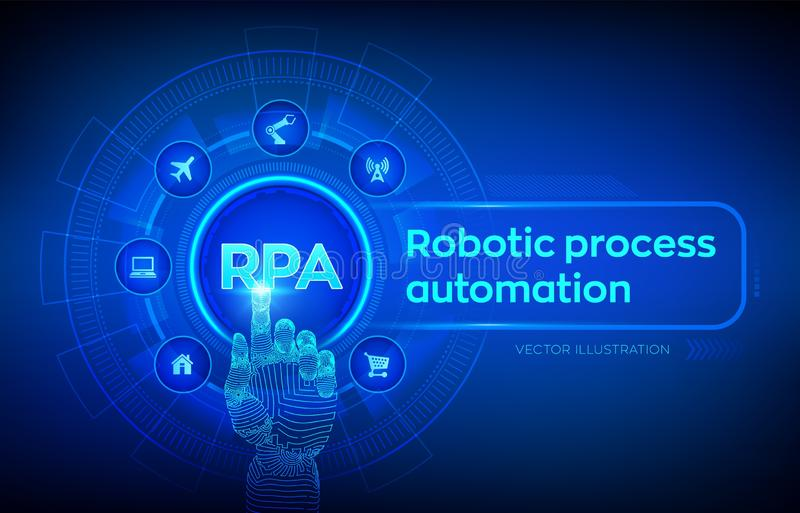 Rpa-Roboterproze?automatisierungsinnovationstechnologiekonzept auf virtuellem Schirm Roboterhand, die digitale Schnittstelle ber? vektor abbildung