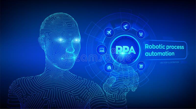 Rpa-Roboterproze?automatisierungsinnovationstechnologiekonzept auf virtuellem Schirm Wireframed-Cyborghand, die digitales Diagram lizenzfreie abbildung
