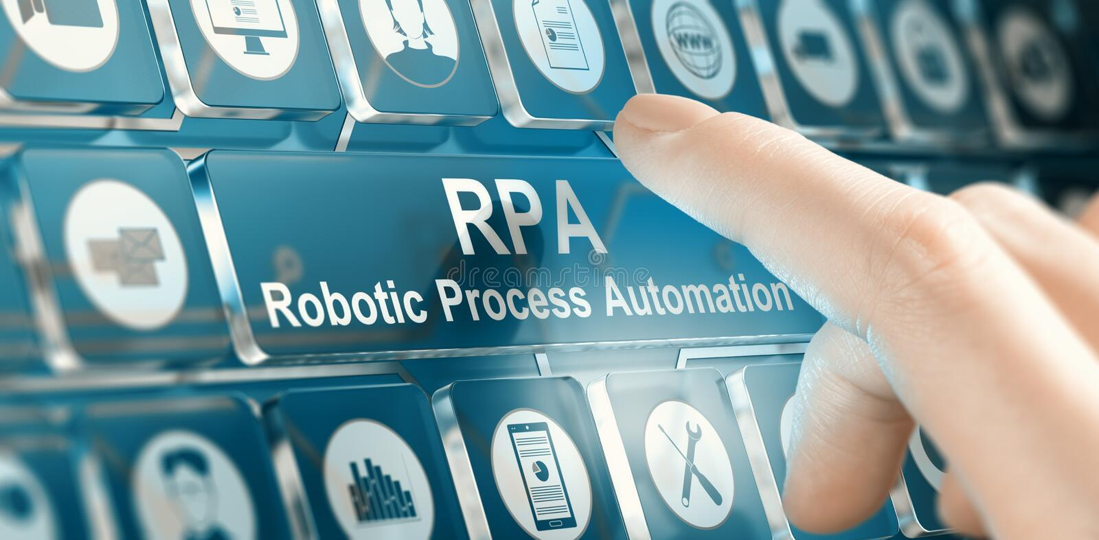 RPA Robotic begrepp för processautomation stock illustrationer