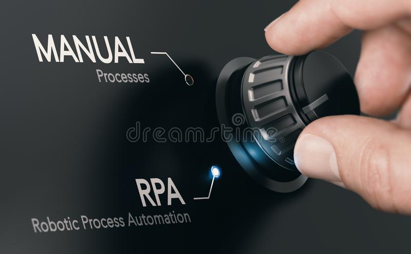 RPA, Robotic Process Automation and Artificial Intelligence stock illustration