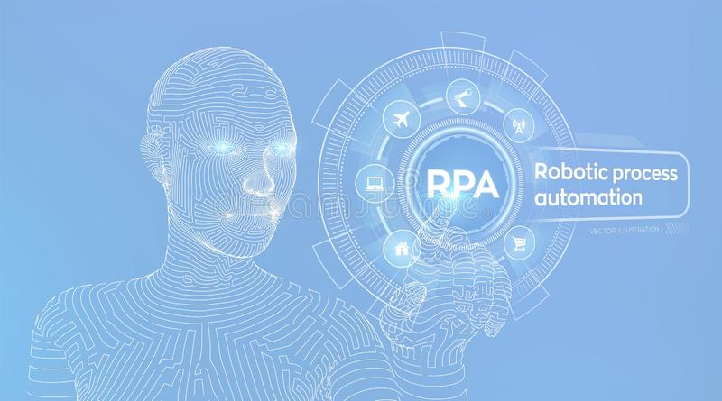 RPA Robotic process automation innovation technology concept on virtual screen. Wireframed cyborg hand touching digital graph. Interface. AI. Artificial stock illustration