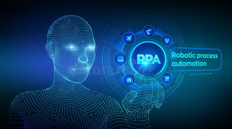 RPA Robotic process automation innovation technology concept on virtual screen. Wireframed cyborg hand touching digital graph. Interface. AI. Artificial royalty free illustration