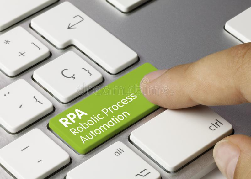 RPA Robotic Process Automation - Inscription on Green Keyboard Key royalty free stock photography