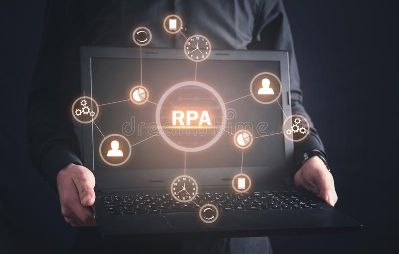 RPA-Robotic Process Automation. Technology concept stock photos