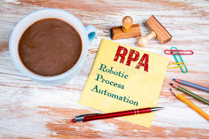 RPA Robotic Process Automation. Text on a napkin royalty free stock photo