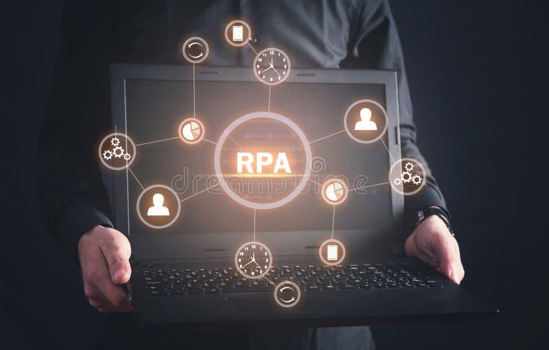 RPA-Robotic processautomation begrepp isolerad teknologiwhite arkivfoton
