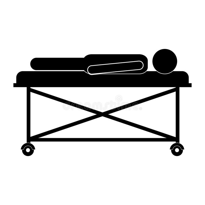 RPatient lying on a hospital bed. Injuried Patient lying on a hospital bed with nurse. pictogram design. vector illustration stock illustration
