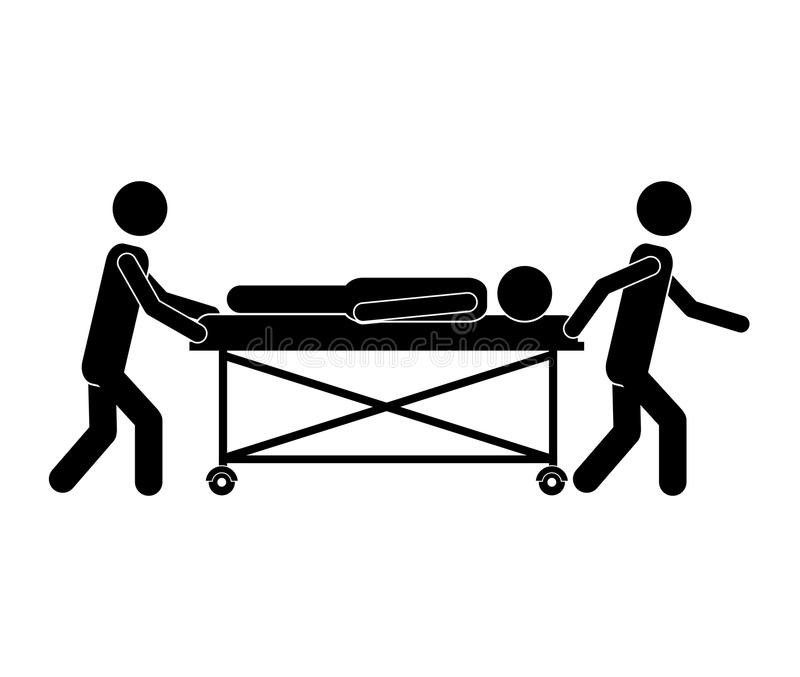 RPatient lying on a hospital bed. Injuried Patient lying on a hospital bed with nurse. pictogram design. vector illustration vector illustration