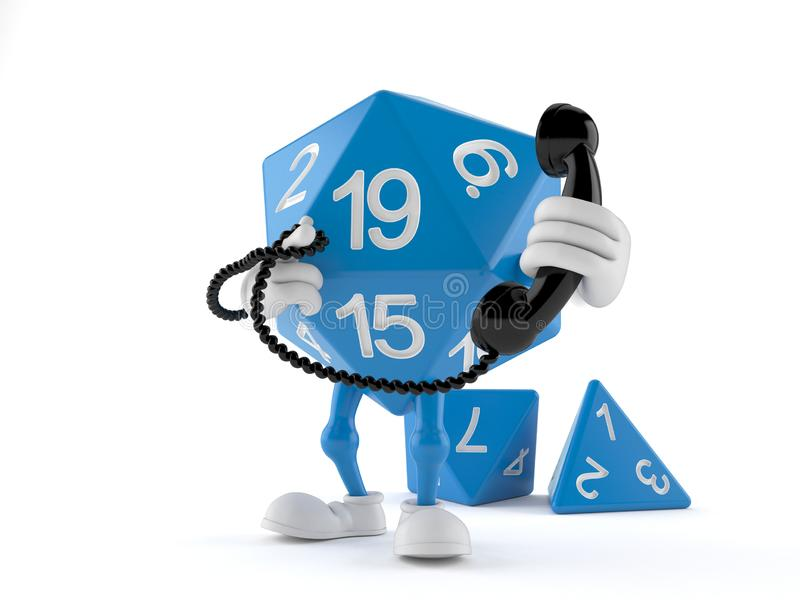 RPG dice character holding a telephone handset. Isolated on white background. 3d illustration vector illustration