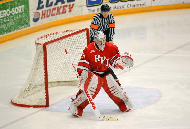 RPI Goalie #33 i NCAA-hockeylek royaltyfri foto