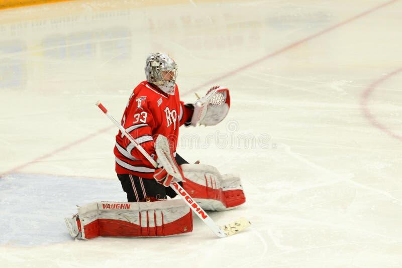 RPI Goalie #33 i NCAA-hockeylek arkivbild