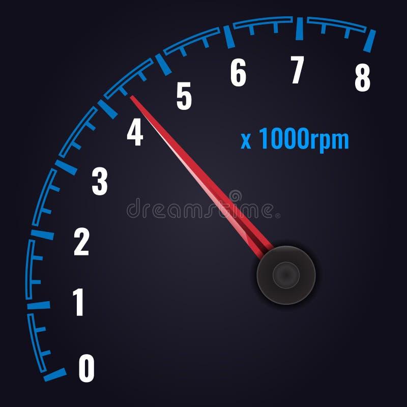 RPM del tacómetro hasta 8 x 1000 indicador del Revolución-contador Ilustraci?n del vector ilustración del vector
