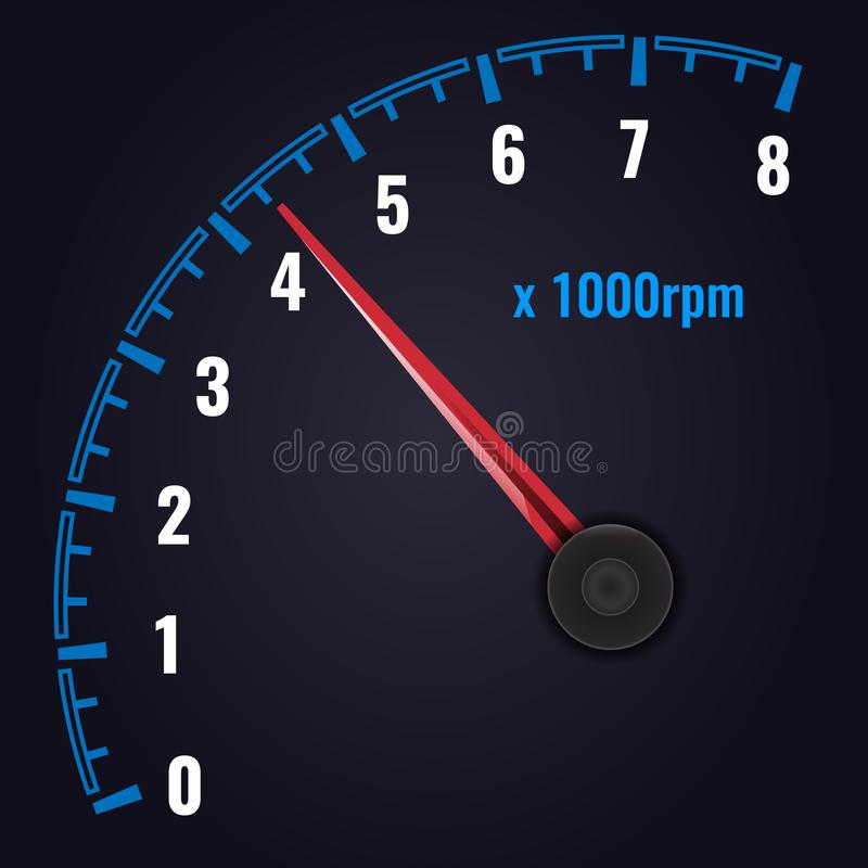RPM do tacômetro até 8 x 1000 calibre do Revolução-contador Ilustra??o do vetor ilustração do vetor
