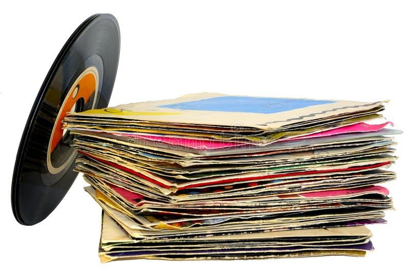 45 rpm vinyl discs stack royalty free stock photos