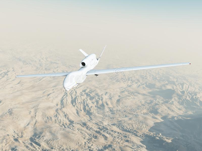 RQ-4A Global Hawk in Flight. A computer-generated Global Hawk unmanned aerial vehicle flies on a surveillance mission