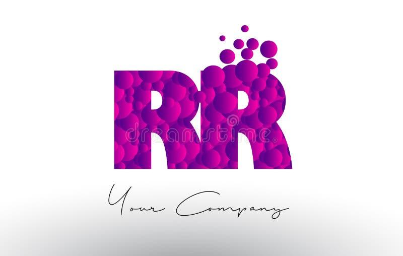 RR R Dots Letter Logo con textura púrpura de las burbujas stock de ilustración