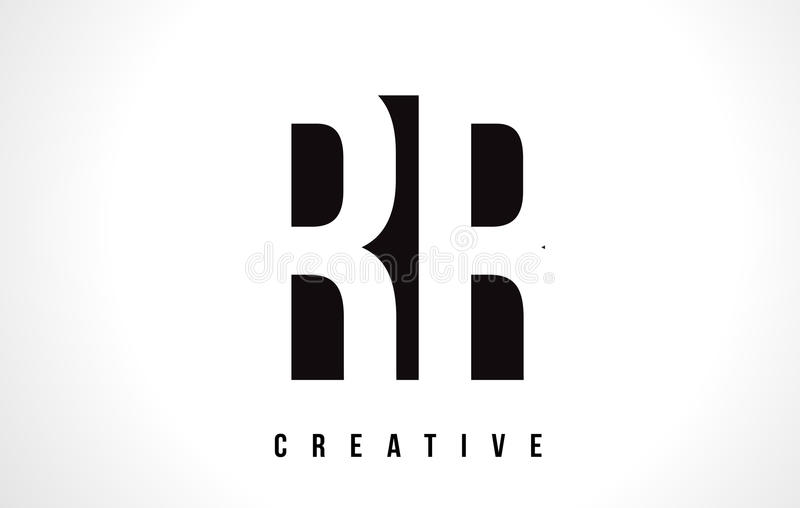RR R White Letter Logo Design with Black Square. stock illustration