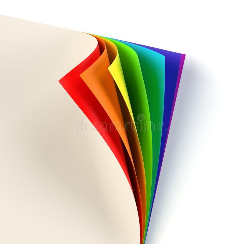 Rrainbow ha colorato l'angolo arricciato del documento illustrazione vettoriale