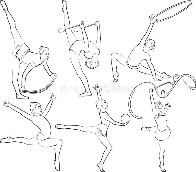 rrhythmic gymnastics - outlines set stock illustration