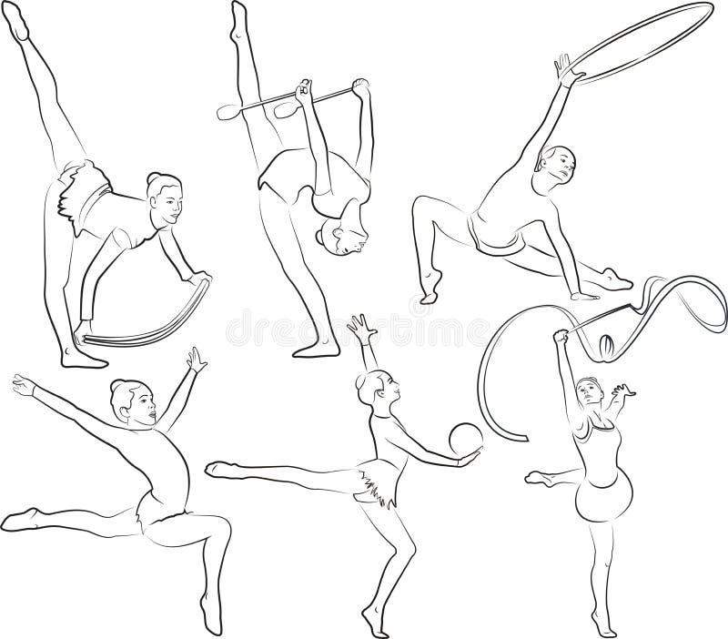 rrhythmic gymnastiek - geplaatste overzichten stock illustratie