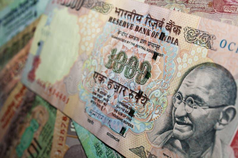 Rs. 1000 Indische muntnota - close-up royalty-vrije stock afbeeldingen
