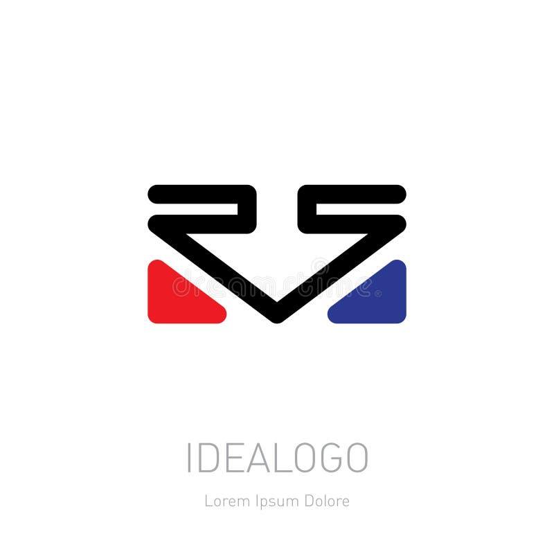 RS logo Logotypu szablon z strzała i trójbokami Wektorowy desi ilustracja wektor